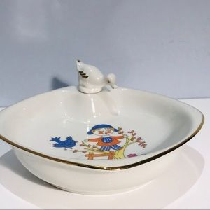 FD Chauvigny 1950s Porcelain Baby Warming Bowl
